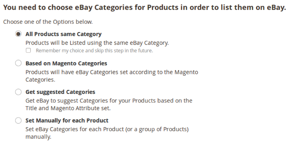 Set eBay Categories