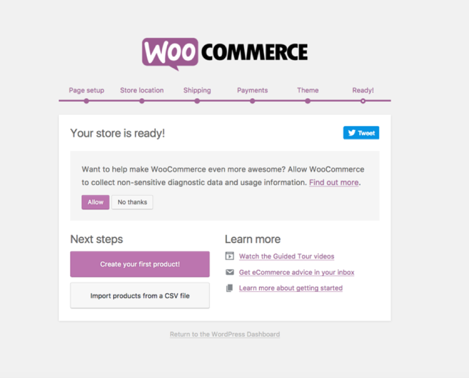 WooCommerce's key settings