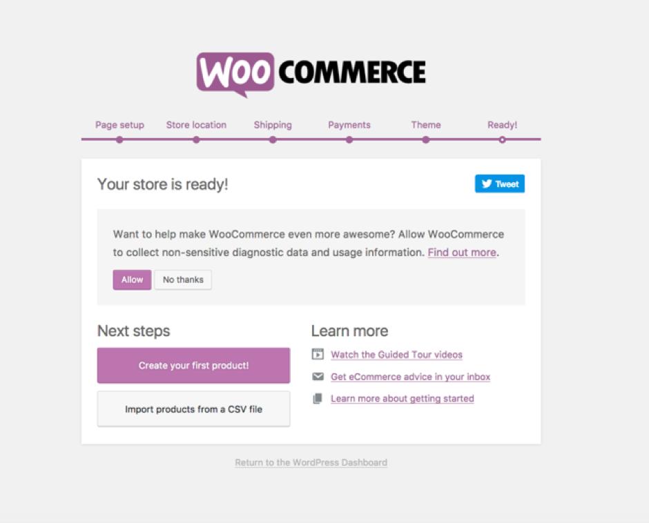 WooCommerce's key settings