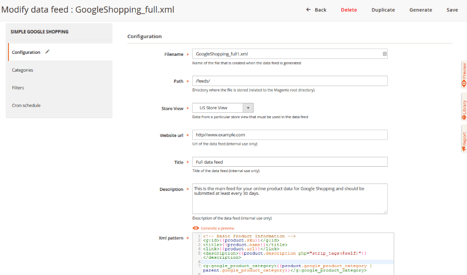 Configuration Google shopping feed magento-2